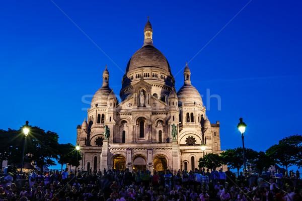 Katedral montmartre tepe akşam karanlığı Paris Fransa Stok fotoğraf © anshar