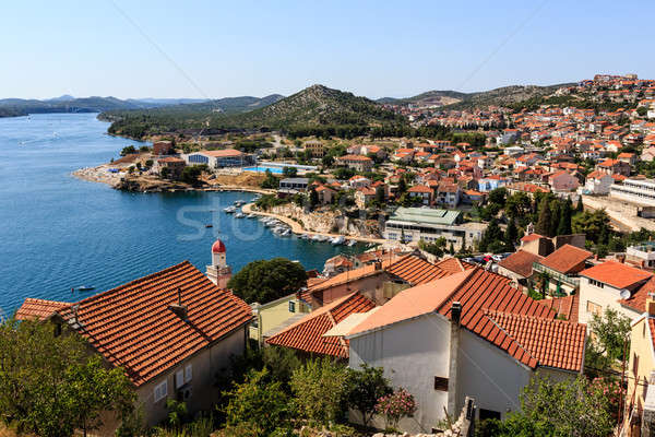 Panoramic View from the Hill on Sibenik and Dalmatian Islands, C Stock photo © anshar