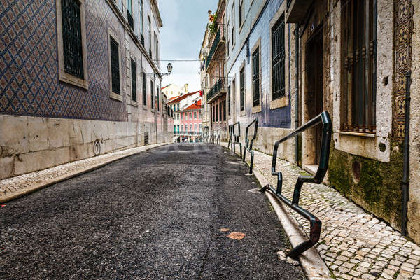 Narrow Street in the Midieval Alfama District of Lisbon, Portuga Stock photo © anshar