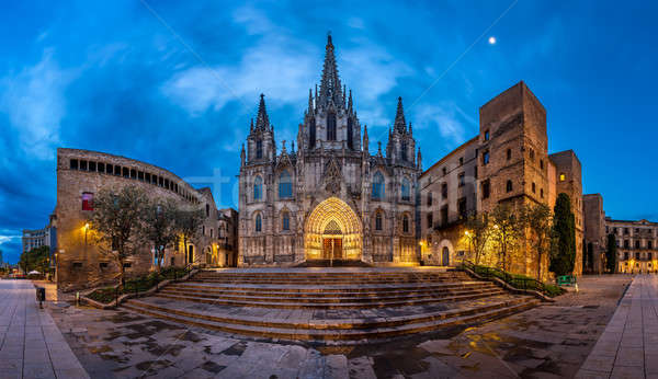 Panorama of Cathedral of the Holy Cross and Saint Eulalia in the Stock photo © anshar