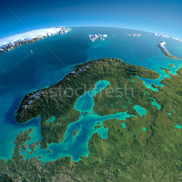 Részletes Föld Európa Skandinávia rendkívül Föld Stock fotó © Antartis