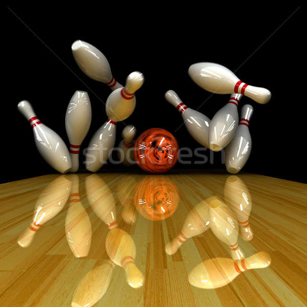 Orange Ball Streik korrigieren Simulation Bowling Stock foto © Antartis