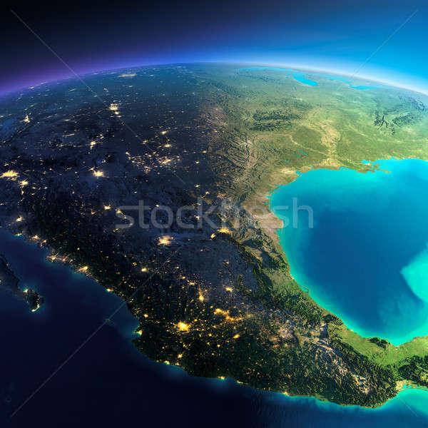 Részletes Föld Mexikó rendkívül Föld éjszaka Stock fotó © Antartis