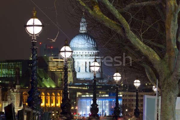Temze éjszaka lámpások kilátás katedrális utca Stock fotó © Antartis