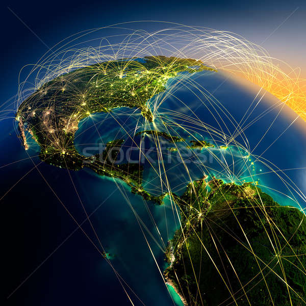 Main air routes in Central America Stock photo © Antartis