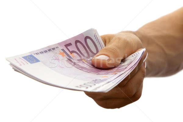 Euros billetes mano aislado blanco negocios Foto stock © Antartis
