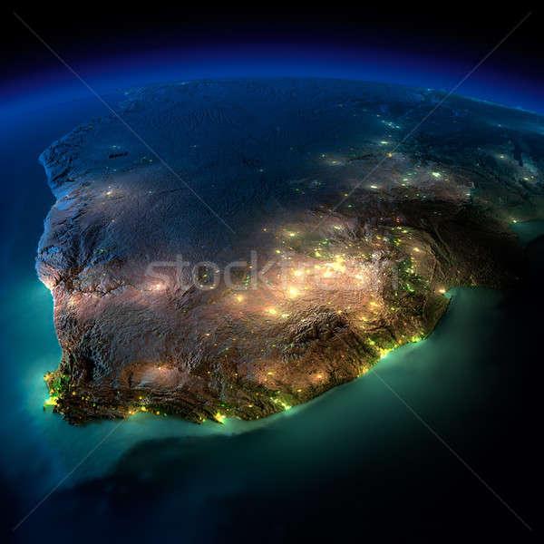 éjszaka Föld Dél-Afrika rendkívül részletes megvilágított Stock fotó © Antartis