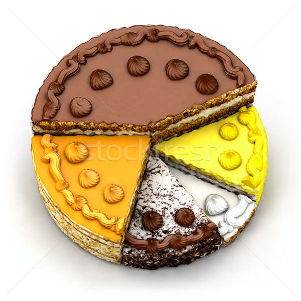 Stock photo: Pie chart of the different piece of pie