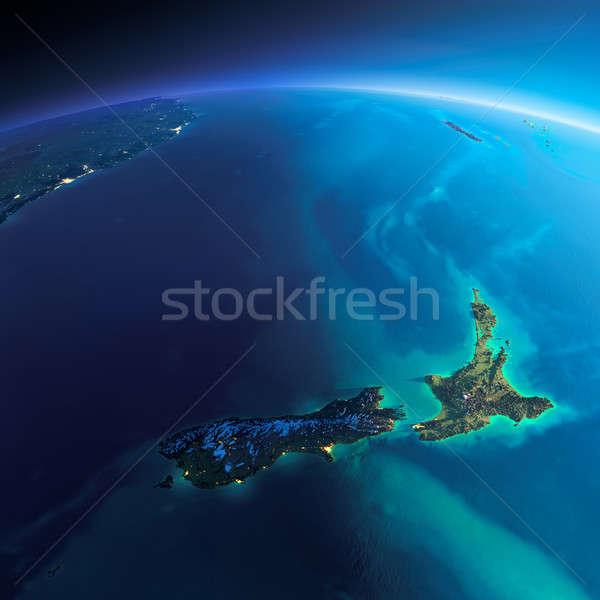 Részletes Föld Új-Zéland rendkívül Föld éjszaka Stock fotó © Antartis