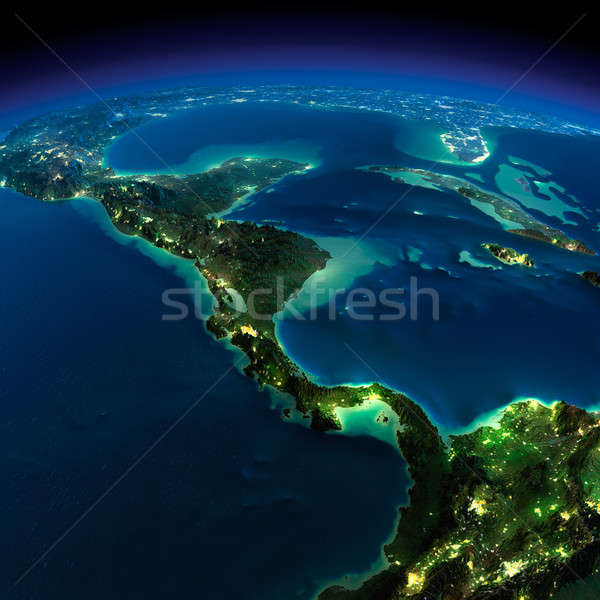 Night Earth. The countries of Central America Stock photo © Antartis