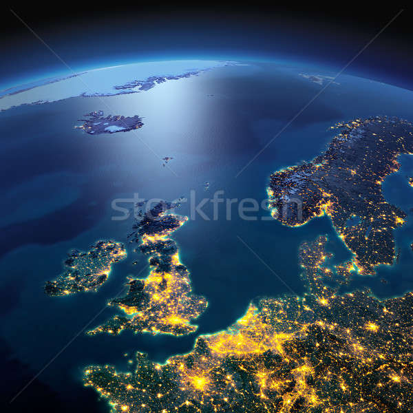 Detailed Earth. United Kingdom and the North Sea on a moonlit ni Stock photo © Antartis