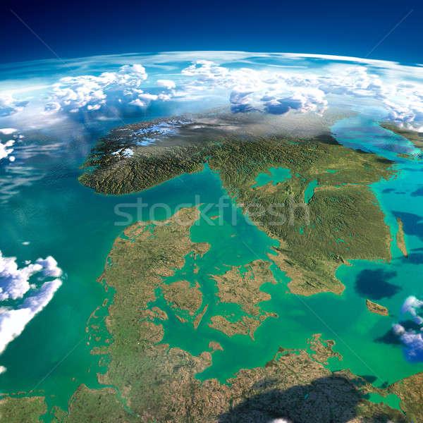 Pianeta terra Danimarca Svezia Norvegia dettagliato Foto d'archivio © Antartis