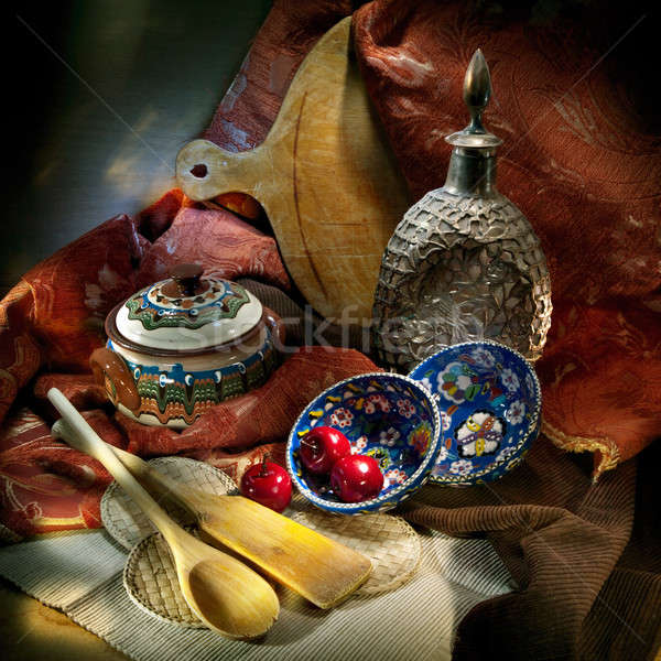 Still life cuisine fond métal art Photo stock © Antartis
