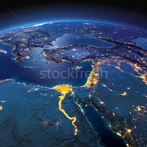 Részletes Föld Afrika Közel-Kelet éjszaka Föld Stock fotó © Antartis