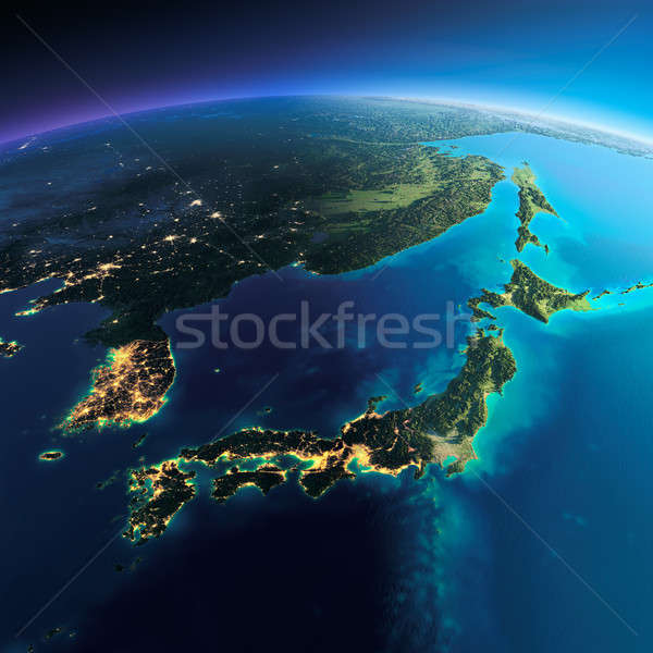 Detailed Earth. Japan and Korea Stock photo © Antartis