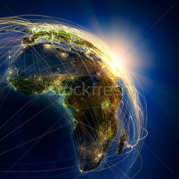 Stock fotó: Fő- · levegő · Afrika · rendkívül · részletes · Föld