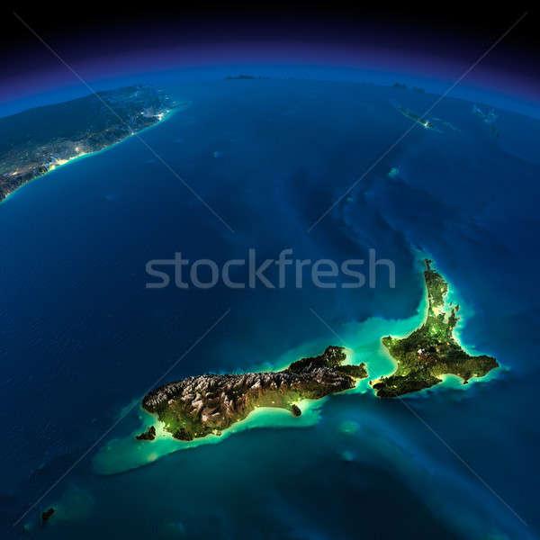 Noc ziemi Nowa Zelandia wysoko szczegółowy Zdjęcia stock © Antartis