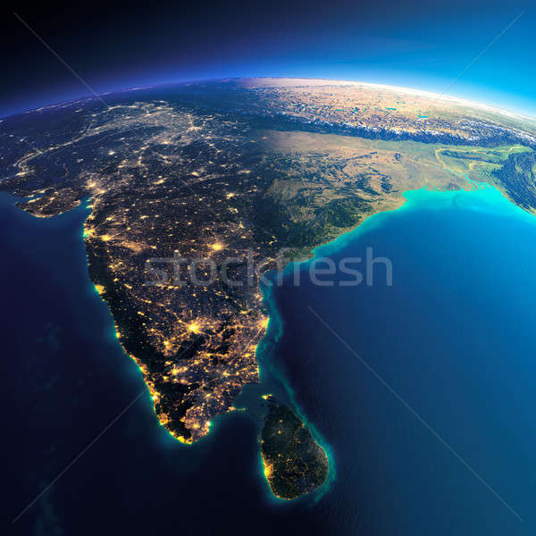 Detailed Earth. India And Sri Lanka Stock Photo © Anton