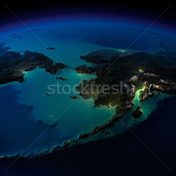 éjszaka Föld Alaszka rendkívül részletes megvilágított Stock fotó © Antartis