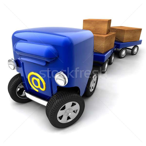 Mailbox mobiele metafoor e-mail brievenbus wielen Stockfoto © Antartis