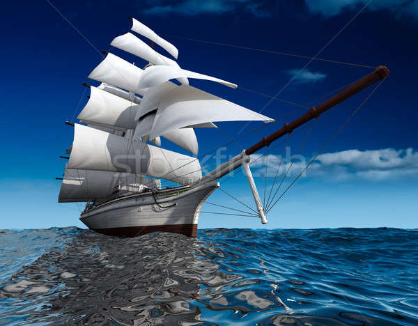 Sailing ship at sea Stock photo © Antartis