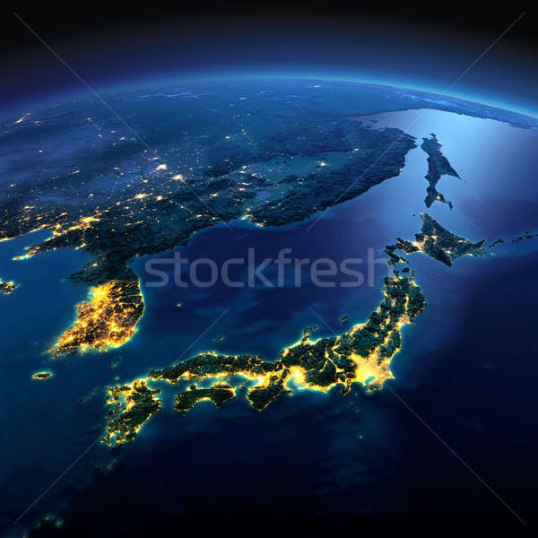 Detailed Earth. Part of Asia, Japan and Korea, Japanese sea on a Stock photo © Antartis