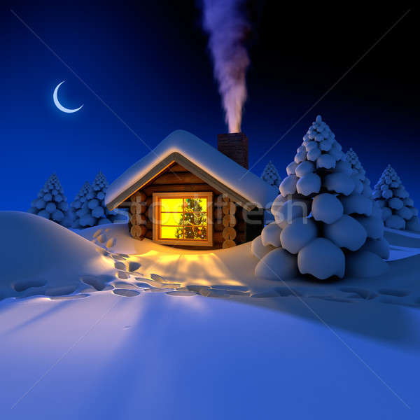 Stock photo: Little house in the woods on New Year's night