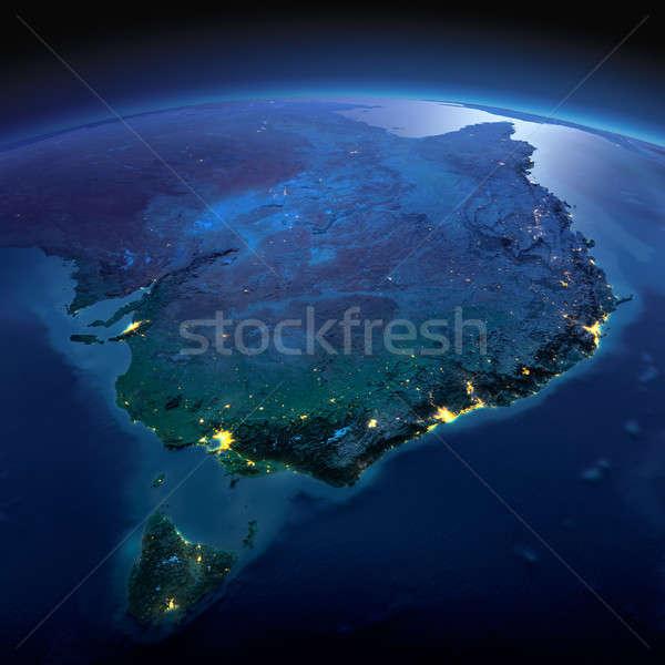 подробный земле Австралия Тасмания ночь планете Земля Сток-фото © Antartis