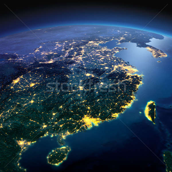 Detailed Earth. Eastern China and Taiwan on a moonlit night Stock photo © Antartis