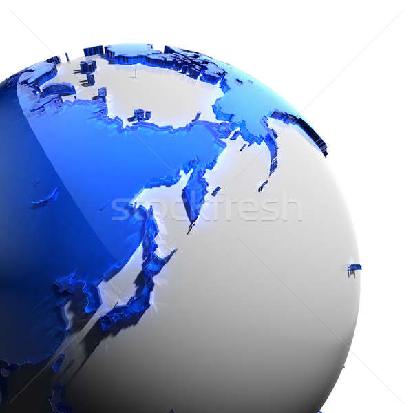 A fragment of the Earth with continents of blue glass Stock photo © Antartis
