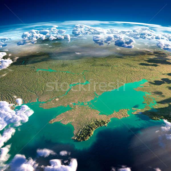 Pianeta terra nero mare dettagliato Foto d'archivio © Antartis