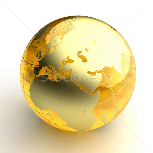 Amber globe with golden continents on white background Stock photo © Antartis