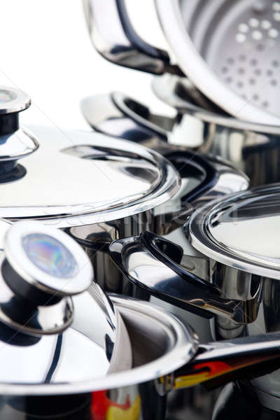 Stainless steel pots Stock photo © Antartis