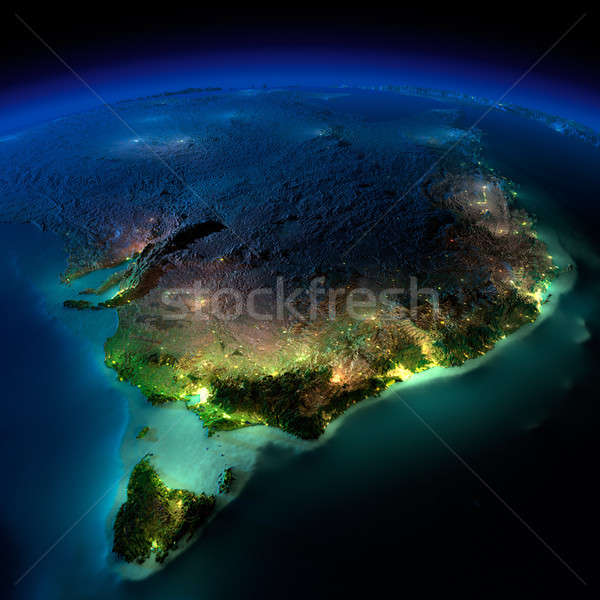 Night Earth. Part of Australia. Tasmania Stock photo © Antartis