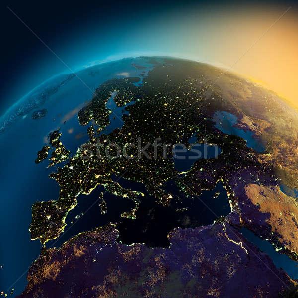 éjszaka kilátás Európa műhold izzó fények Stock fotó © Antartis
