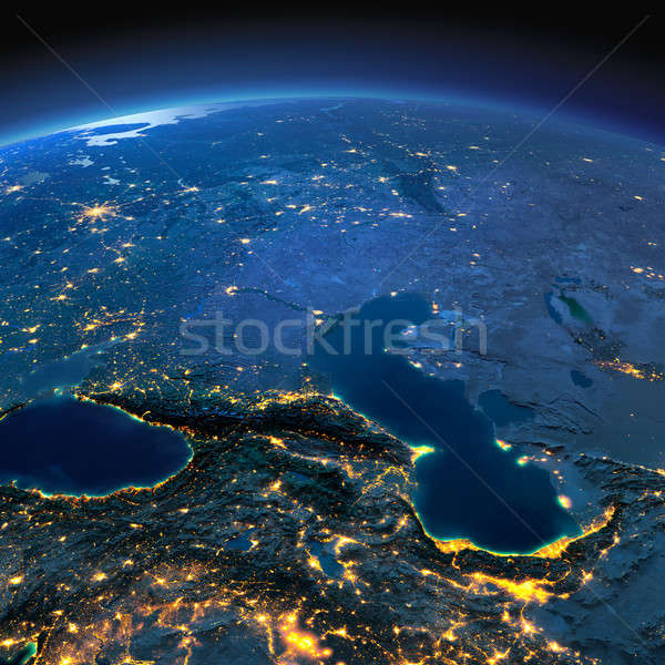 Detailed Earth. Caucasus and the Caspian Sea on a moonlit night Stock photo © Antartis