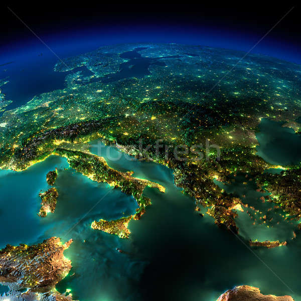 Сток-фото: ночь · земле · кусок · Европа · Италия · Греция