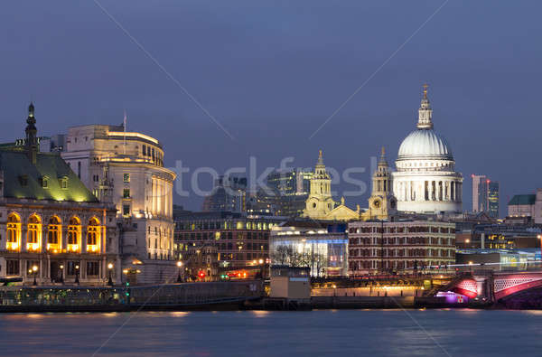Evening view of the Thames and St Paul's Cathedral. London Stock photo © Antartis
