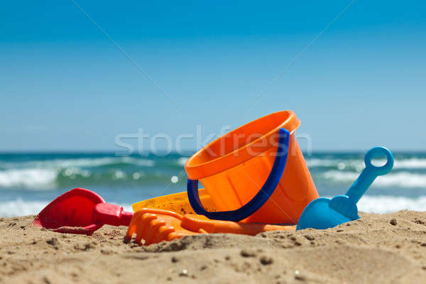 Photo stock: Plastique · jouets · plage · bêche · pelle · sable