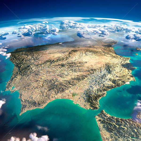 Aarde Spanje Portugal gedetailleerd overdreven Stockfoto © Antartis