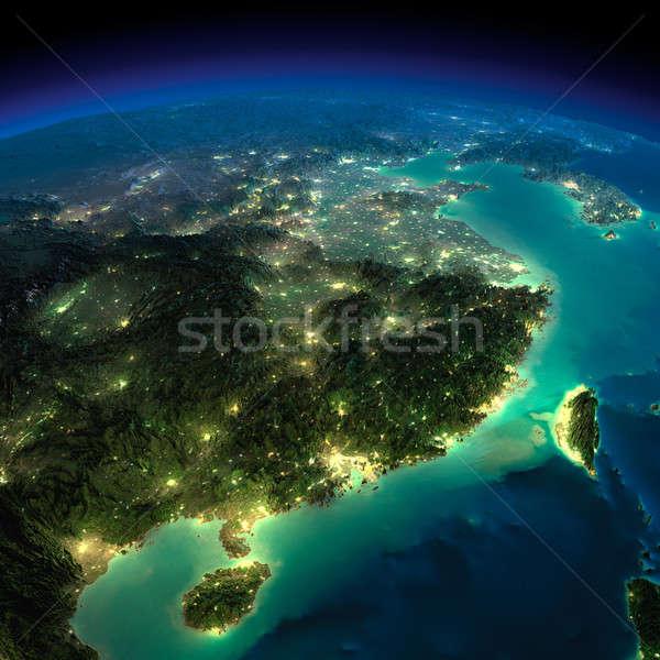 éjszaka Föld keleti Kína Tajvan rendkívül Stock fotó © Antartis