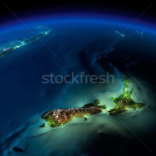 éjszaka Föld Új-Zéland rendkívül részletes megvilágított Stock fotó © Antartis