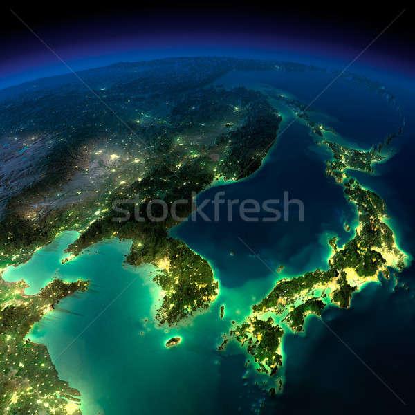 éjszaka Föld darab Ázsia Japán Kína Stock fotó © Antartis
