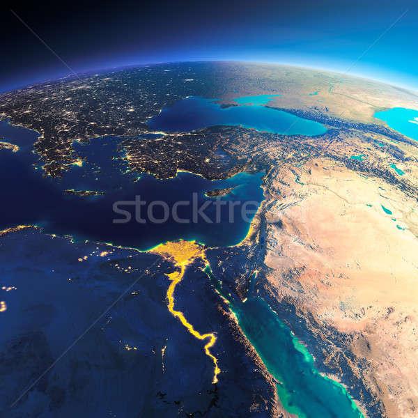 Részletes Föld Afrika Közel-Kelet rendkívül Föld Stock fotó © Antartis
