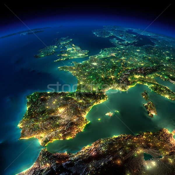 ночь земле кусок Европа Испания Португалия Сток-фото © Antartis