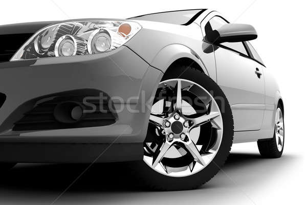 Silver car on a white background Stock photo © Antartis