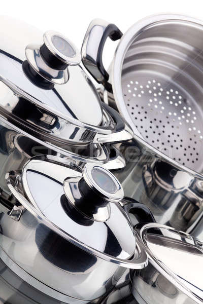 A set of saucepans, stainless steel Stock photo © Antartis