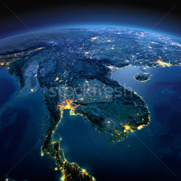 Detailed Earth. Indochina peninsula on a moonlit night Stock photo © Antartis