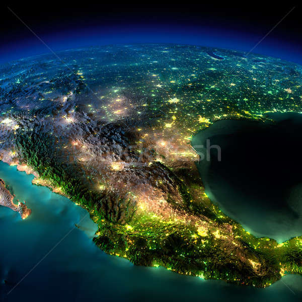 Stock photo: Night Earth. A piece of North America - Mexico