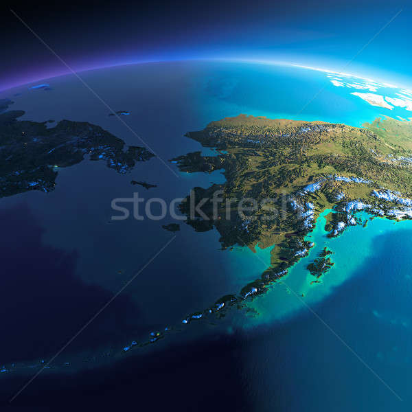 Detailed Earth. Chukotka, Alaska and the Bering Strait Stock photo © Antartis